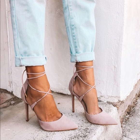 1bdd66b2b01 DANI DUSTY ROSE SUEDE LACE-UP HEELS